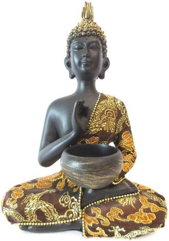 Bouddha thai avec bol noir & or 22cm