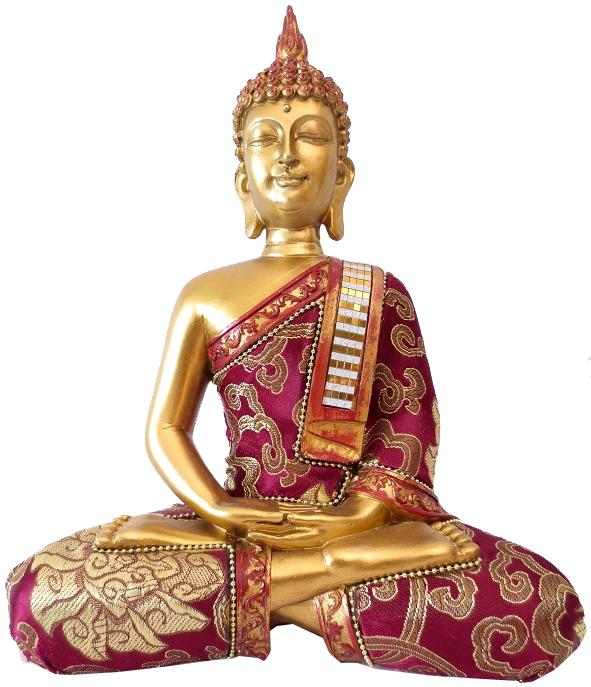 Bouddha Thai meditation rouge 25cm