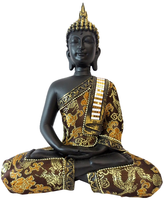 Bouddha Thai meditation noir 25cm