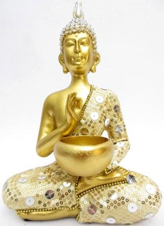 Bouddha thai avec bol or 22cm