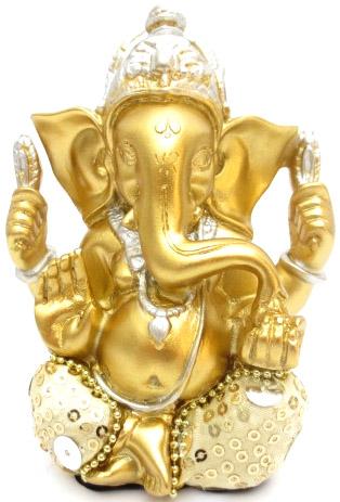 Ganesh or & blanc 13cm