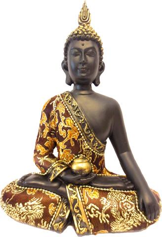 Bouddha thai noir & or 22cm