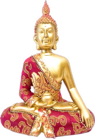 Bouddha thai rouge & or 22cm