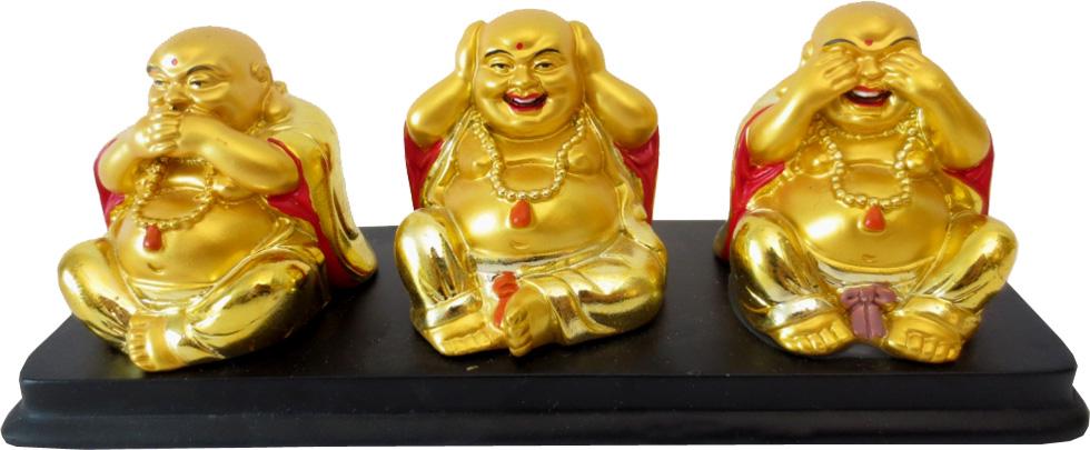 Statue 3 bouddhas de la sagesse or 19cm