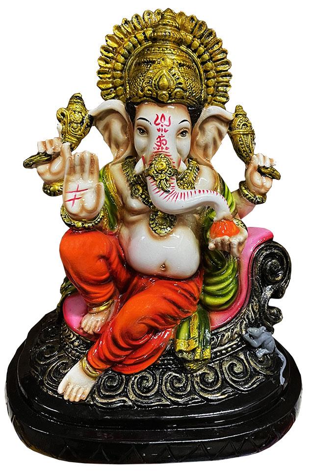 Ganesh en résine Orange & Vert 28cm