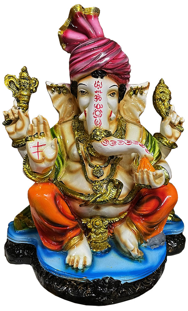 Ganesh en résine Bleu & Orange 26cm