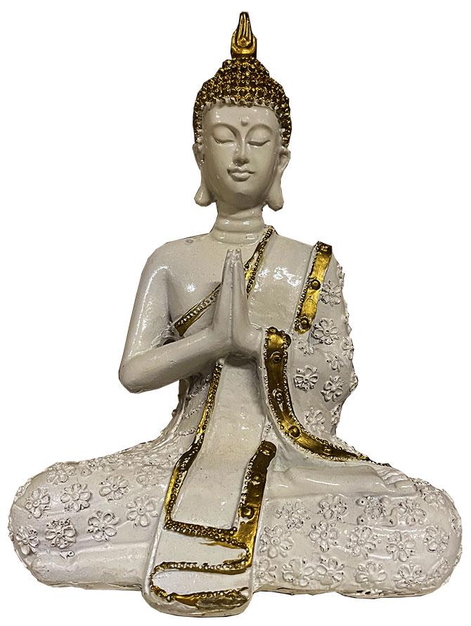 Buddha Meditazione resina Oro & Bianco 19cm