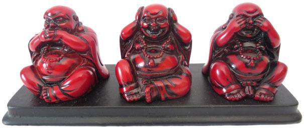Bouddha de la sagesse resine rouge sur plateau noir 20cm
