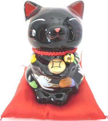 Chat debout porte bonheur noir sur coussin 12cm