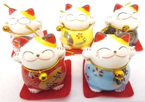 Set de 5 chats porte bonheur