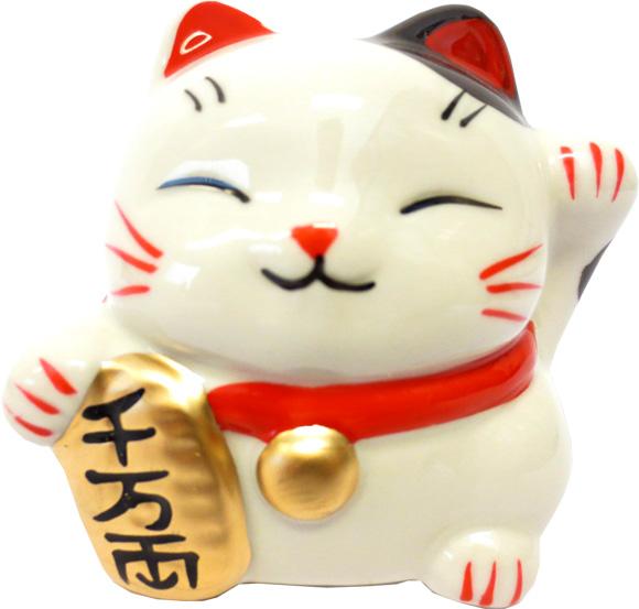 Chat porte bonheur blanc tirelire 7cm