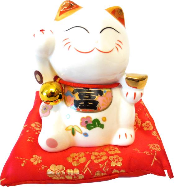 Chat porte bonheur blanc tirelire sur coussin 9cm