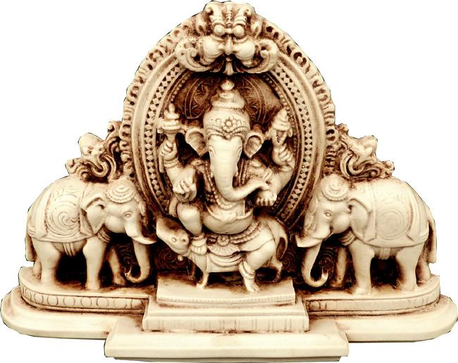 Statue ganesh résine 2 éléphants 20cm