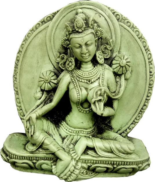 Statue tara verte résine 7.5cm