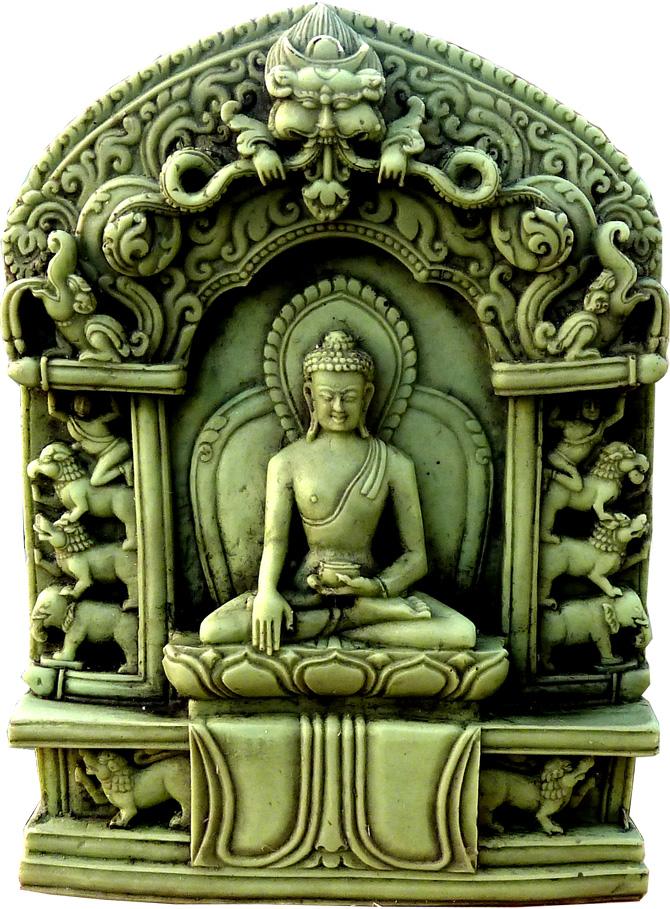 Autel bouddha meditation vert en pierre 10cm