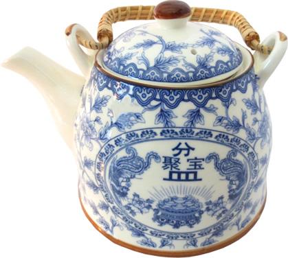 Théière bleue pièces d\'or porcelaine
