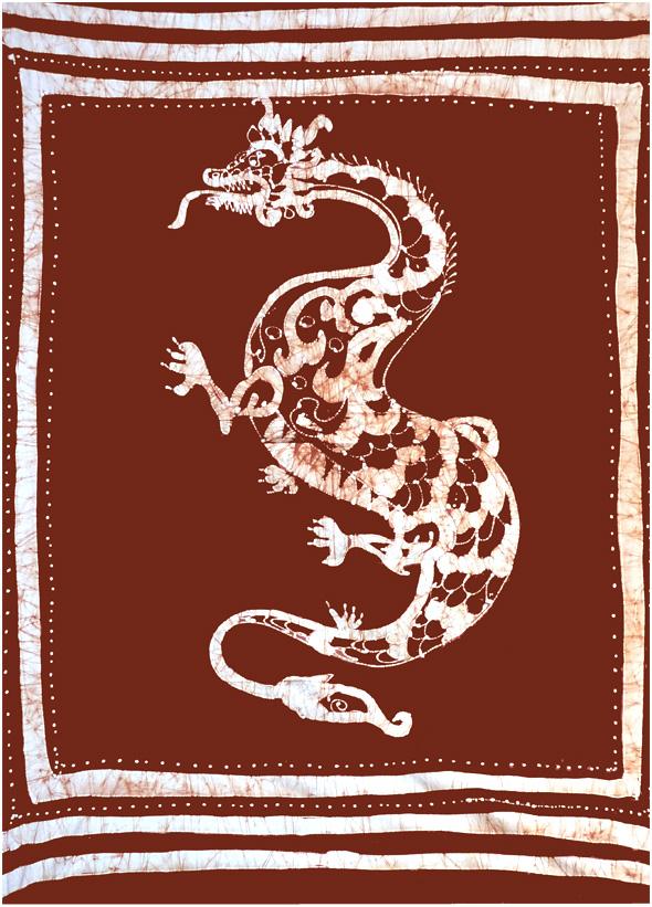 Tenture Batik Dragon Marron