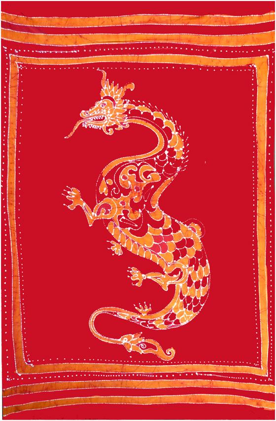 Tenture Batik Dragon Rouge