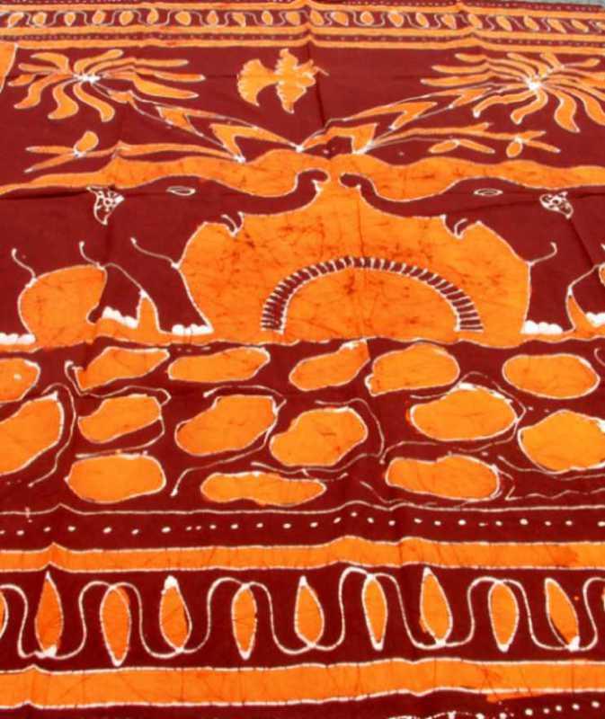 Tenture Batik Deux Elephants