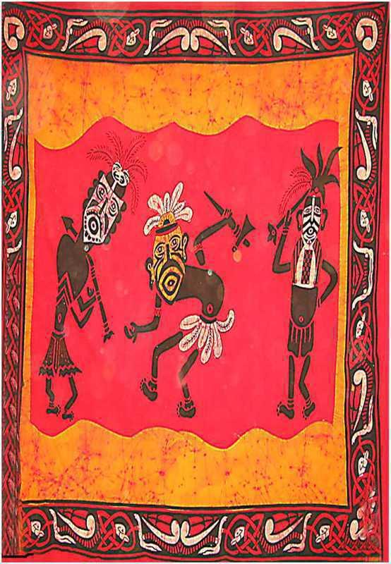 Tenture Batik Guerriers Africains