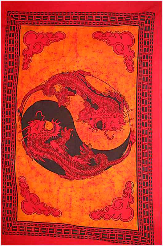 Tenture Batik Ying Yang Dragon