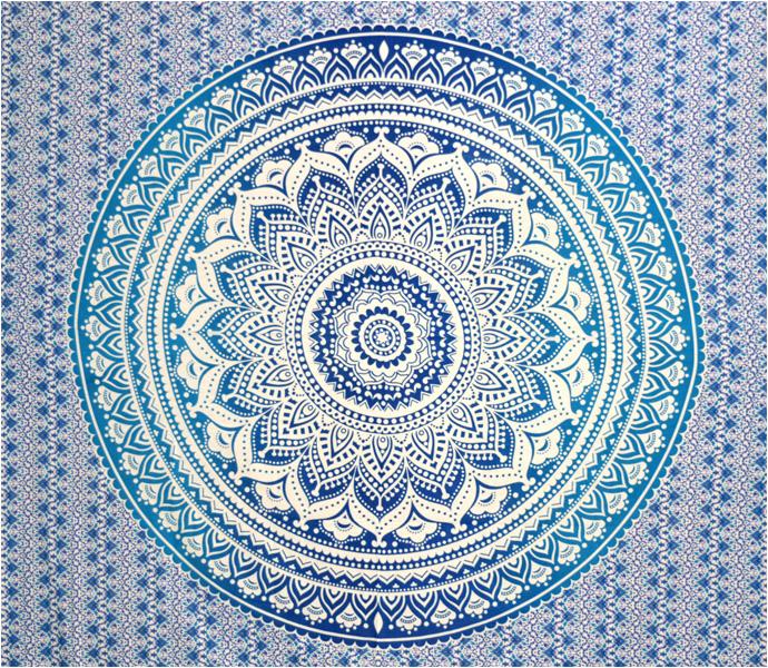 Tenture mandala lotus bleu foncé & bleu clair