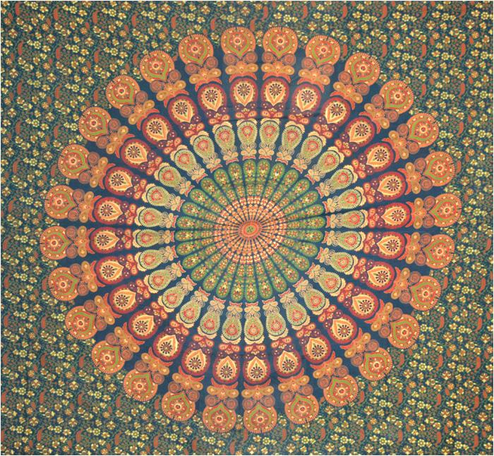 Tenture mandala Vert foncé, vert clair, jaune et orange