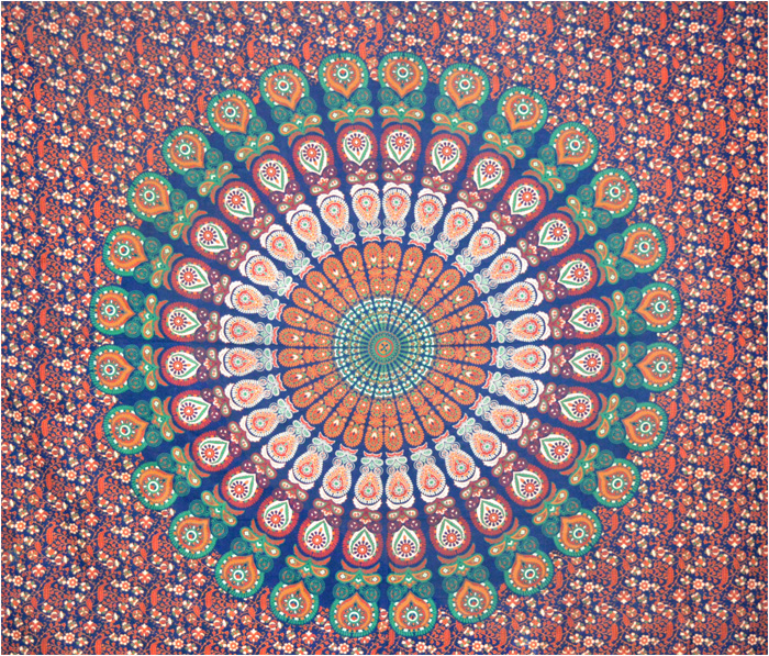 Mandala bedsheet dark blue green red and orange
