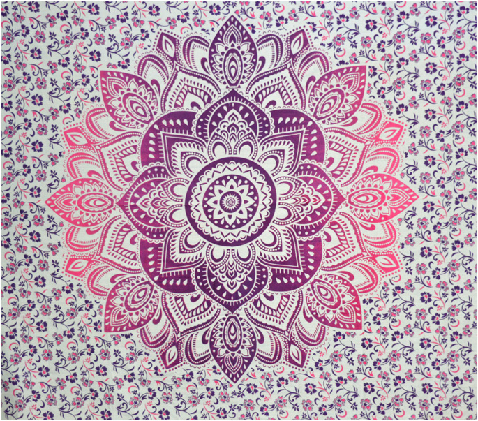 Tenture lotus blanc mauve violet et fushia