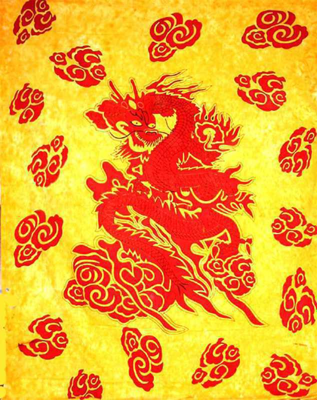 Tenture dragon japonais bleu