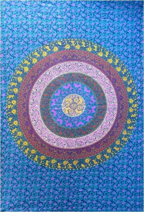 Mandala bedsheet blue & green