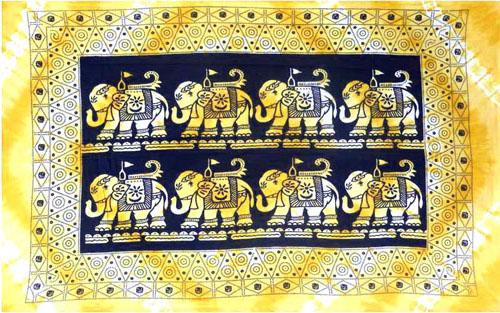 Tenture 8 elephant rectangle jaune