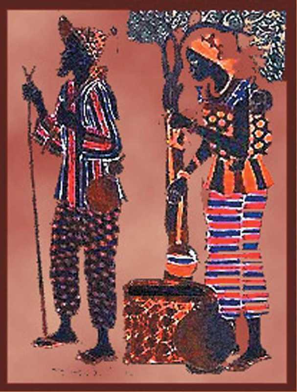 Tenture mini couple africain ©