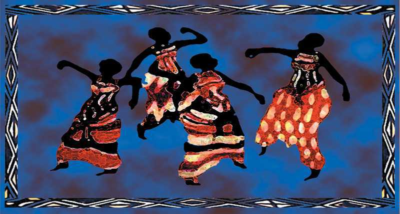 Tenture mini danseuses africaines ©