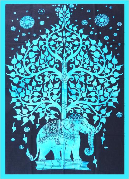 Tenture Mini Elephant Arbre de vie bleu