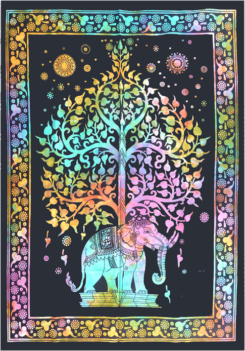 Tenture Mini Elephant Arbre de vie color