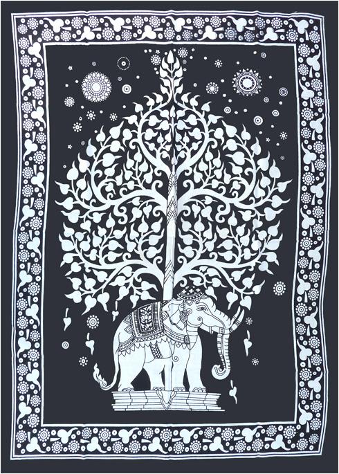 Tenture Mini Elephant Arbre de vie noir & blanc