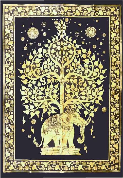 Tenture mini éléphant et arbre de jaune