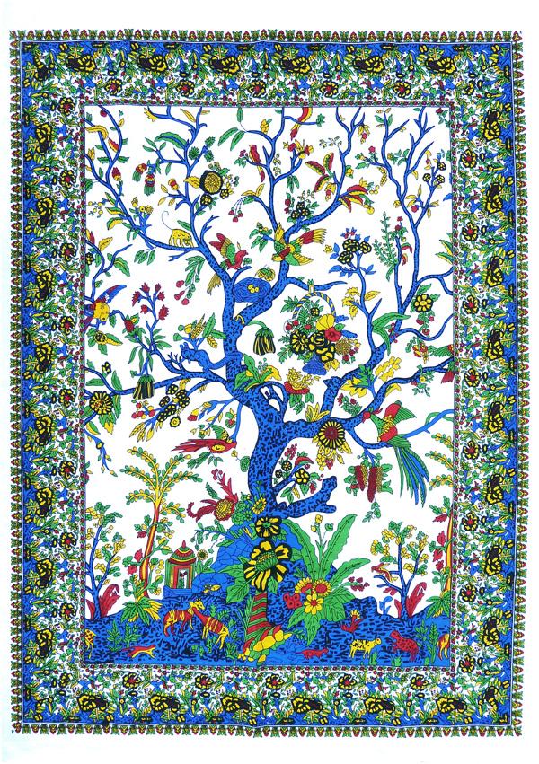Tenture mini arbre de vie bleue et blanche