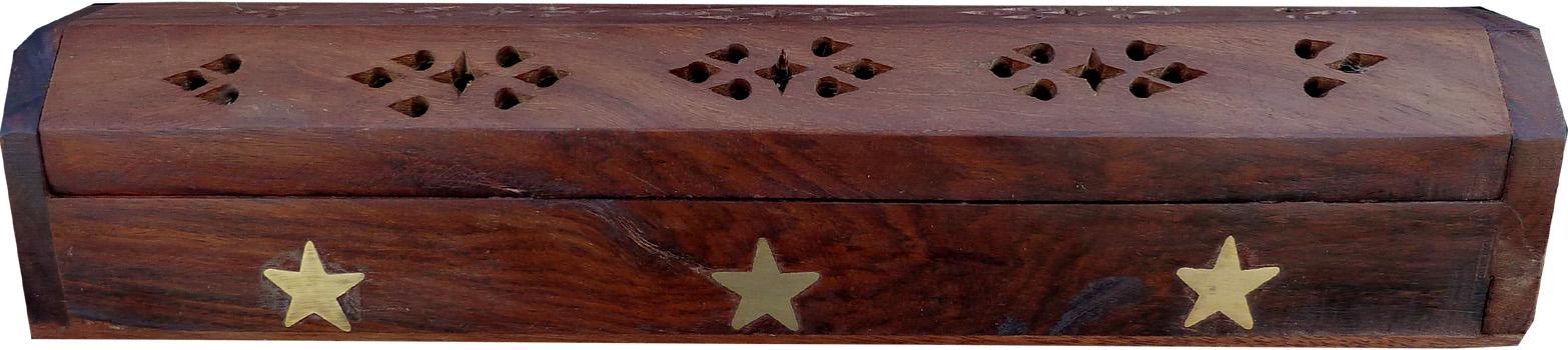 Porte encens hut en bois étoiles 30cm