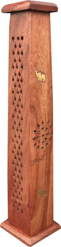 Porte encens bois tour carrée éléphant 30cm