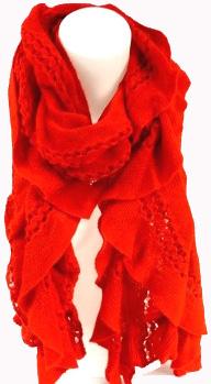 Echarpe douce acrylique milieu troué rouge