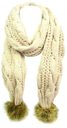 Echarpe tricot grosse cote unie beige - pompon fourrure