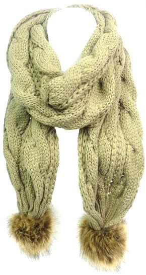 Echarpe tricot grosse cote unie kaki - pompon fourrure