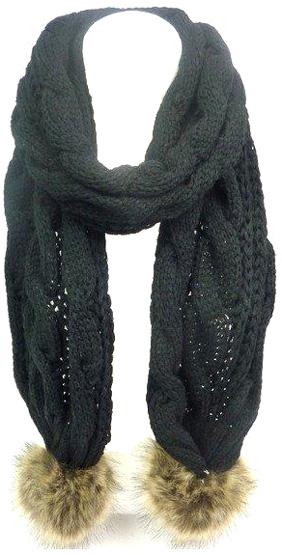 Echarpe tricot grosse cote unie noir - pompon fourrure